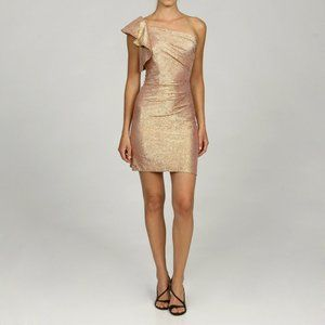 Adrianna Papell One Shoulder Ruffle Gold Dress S